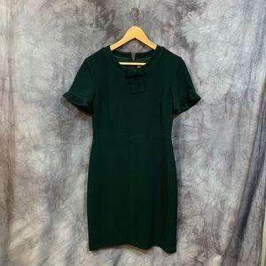 Karl Lagerfeld Green Crew Neck Bow Sheath Dress 6